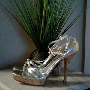 Women's Wet Seal Platform Silver Heels
